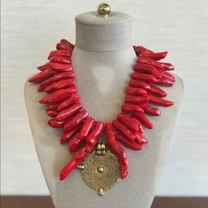Red coral necklace.. statement necklace